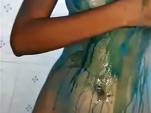 Big Boobs Indian girlfriend bathing after playing holi